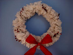 Tissue paper Christmas wreath craft