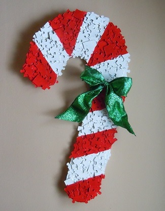 candy cane made from puzzle pieces