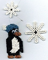 Plastic canvas penguin ornament