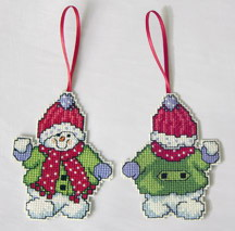 plastic canvas snowman ornament