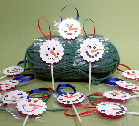 snowman lollipop craft