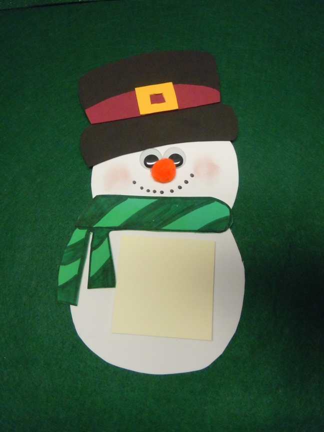 craft foam snowman note holder