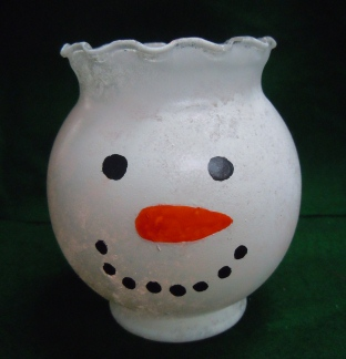 Snowman craft ideas - painted candy dish