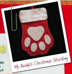 Paw print christmas stocking