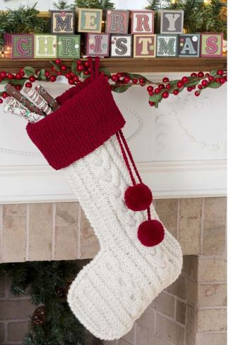 Knit this beautiful cable knit stocking iwth a free pattern from red