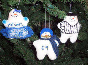 Football player, cheereleader & referee snowman ornaments