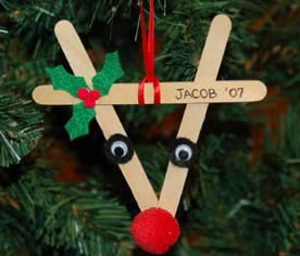 Craft a reindeer Christmas ornament from popsicle sticks