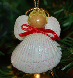 Angel ornament made from seashells
